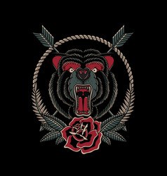 wild ride angry bear with rose vector image