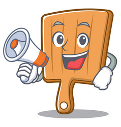 With megaphone kitchen board character cartoon vector
