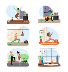 women doing fitness riding stationary exercise vector image