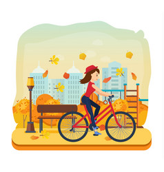 young girl rides in autumn park outside home vector image