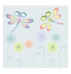 Coloured dragon-fly vector image