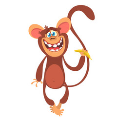 cute cartoon monkey character vector image vector image