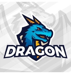 Dragon on shield sport mascot concept Football or vector image