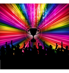 people crowd and trophy vector image