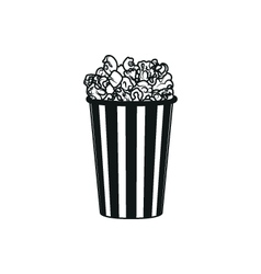 Popcorn simple black icon on white background vector image vector image