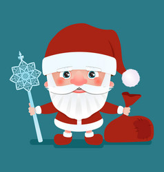 santa claus with a bag and crook stick vector image