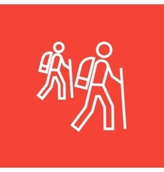 Tourist backpackers line icon vector image