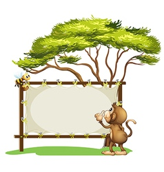 An empty signage with a monkey and a bee vector image