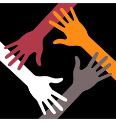 Colorful Four Hands Icon on black background vector image