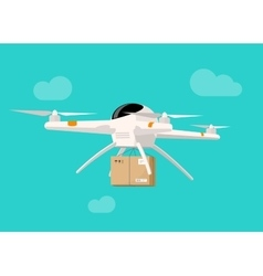 Drone delivery flying in sky shipping parcel box vector image