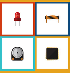 Flat icon appliance set of hdd recipient cpu and vector