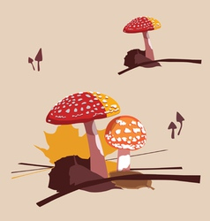 forest poisonous mushrooms fly agarics vector image
