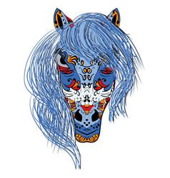 hand drawn head horse multicolored zentangle vector image