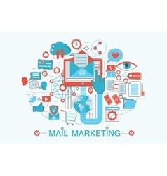 Modern Flat thin Line design Mail marketing vector image