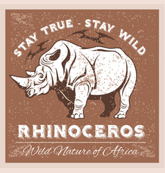 stylized rhino in vintage style for vector image vector image