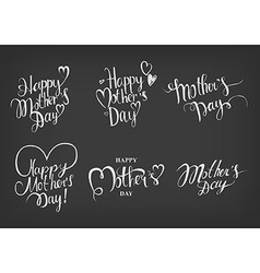 Vintage happy mothers day typographical labels set vector