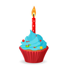 birthday cupcake with one burning candle blue vector image vector image