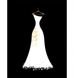 wedding dress white on hangers vector image vector image
