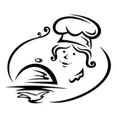 Woman chef with tray vector image