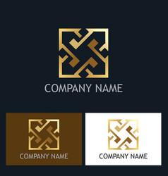 arrow square gold company logo vector image