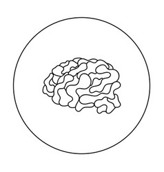 brain in the virtual reality icon in outline style vector image