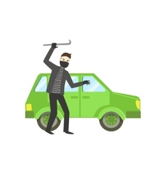 Criminal In Black Robbing The Car vector image vector image