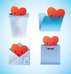 Saint Valentine icons set vector image vector image