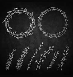 set of decorative doodle wreaths made of branches vector image vector image