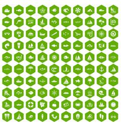 100 sea icons hexagon green vector