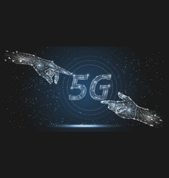 5g network technology polygonal art style vector image
