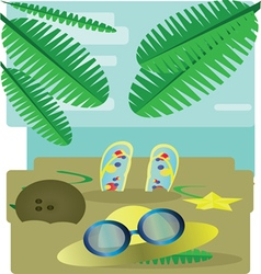 Abstract design with palm leaves sand slippers hat vector