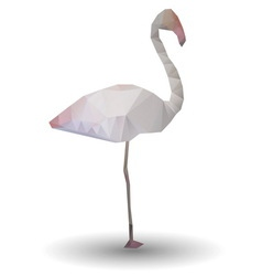 Abstract flamingo in origami style on white vector