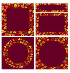 autumn backgrounds and frames set with leaves vector image