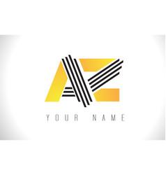 Az black lines letter logo creative line letters vector