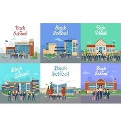 Back to School Icons with Different Building Type vector