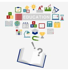 Background of educaion icons with book vector