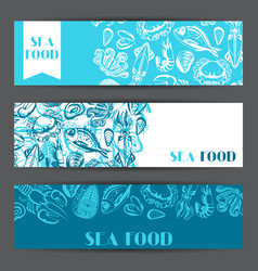 Banners with various seafood of fish vector