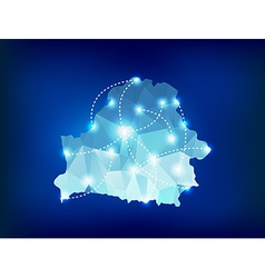 Belarus country map polygonal with spot lights vector