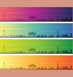 berlin multiple color gradient skyline banner vector image
