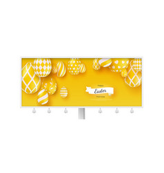 billboard with poster happy easter holidays vector image