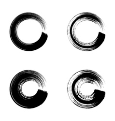 Black circle brush strokes vector