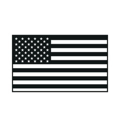 black USA flag on white background vector image