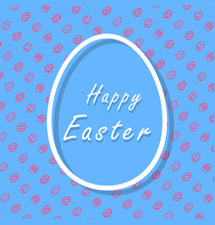 blue and pink happy easter greeting card with vector image