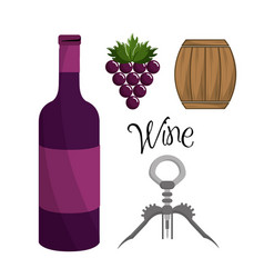bottle of wine grape barrel and take out cork vector image