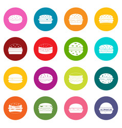 Burger icons many colors set vector