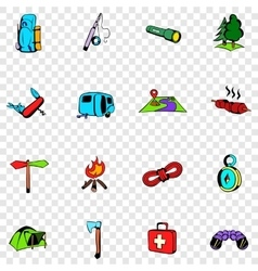 Camping set icons vector image
