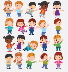 Cartoon character boys and girls set vector