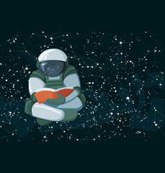 cartoon floating astronaut reading a book on space vector image