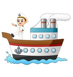 cartoon ship captain pointing on a ship vector image