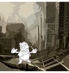 cartoon sketch of a crazy man in a ruined city vector image